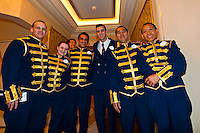 Waiters, Royal Palace restaurant, Disney Dream cruise ship sailing between Florida and the Bahamas