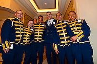 Waiters, Royal Palace restaurant, Disney Dream cruise ship sailing between Florida and the Bahamas