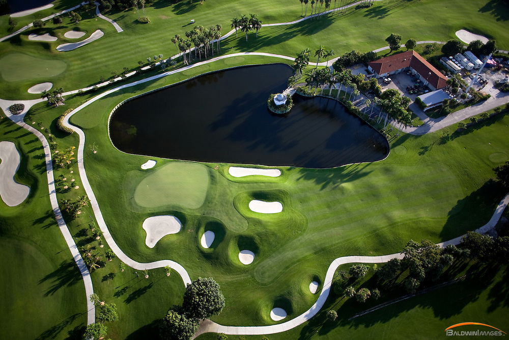 Aerial view of Golf Course, Fisher Island, Florida, early morning