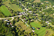 Aerial view of Mount Vernon, Wisconsin on an early autumn day.