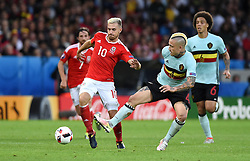 Aaron Ramsey of Wales battles for the ball with Radja Nainggolan of Belgium  - Mandatory by-line: Joe Meredith/JMP - 01/07/2016 - FOOTBALL - Stade Pierre Mauroy - Lille, France - Wales v Belgium - UEFA European Championship quarter final