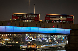 © Licensed to London News Pictures. 29/11/2019. London, UK. Abandoned buses line London Bridge after the earlier incident. A number of people have been stabbed. Police have shot a suspect. Photo credit: Peter Macdiarmid/LNP