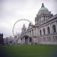 Belfast City Hall with The Belfast Wheel in Northern Ireland