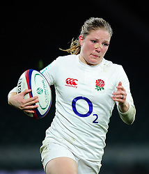 Lydia Thompson of England goes on the attack - Mandatory byline: Patrick Khachfe/JMP - 07966 386802 - 26/11/2016 - RUGBY UNION - Twickenham Stadium - London, England - England Women v Canada Women - Old Mutual Wealth Series.