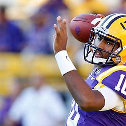 Oct 26, 2013; Baton Rouge, LA, USA; LSU Tigers quarterback Anthony Jennings (10) prior to a game against the Furman Paladins at Tiger Stadium. Mandatory Credit: Derick E. Hingle-USA TODAY Sports