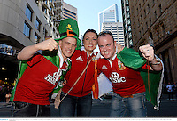 22 June 2013; British & Irish Lions supporters, from left, James Noonan, from Knocklong, Co. Limerick, Ciara Murphy, from Hospital, Co. Limerick, and Kevin Walsh, from Mahon, Cork, in Brisbane ahead of the game. British & Irish Lions Tour 2013, 1st Test, Australia v British & Irish Lions. Brisbane, Queensland, Australia. Picture credit: Stephen McCarthy / SPORTSFILE