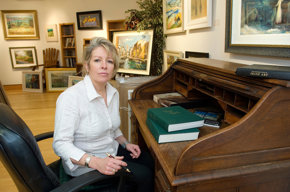 Jeannie McCollum, co-founder with husband Lyle of prestigious selling gallery Island Irish Art. Coleraine, Northern Ireland