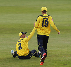 Hampshire's Will Smith celebrates taking a catch - Photo mandatory by-line: Robbie Stephenson/JMP - Mobile: 07966 386802 - 19/06/2015 - SPORT - Cricket - Southampton - The Ageas Bowl - Hampshire v Sussex - Natwest T20 Blast