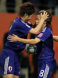 17-07-2011 VOETBAL: FIFA WOMENS WORLDCUP 2011 FINAL JAPAN - USA: FRANKFURT<br /> Torjubel Japan nach dem 1:1 Ausgleich durch Aya Miyama (re.) , hier mit Yukari Kinga (JPN) <br /> ***NETHERLANDS ONLY***<br /> ©2011-FRH- NPH/Hessland