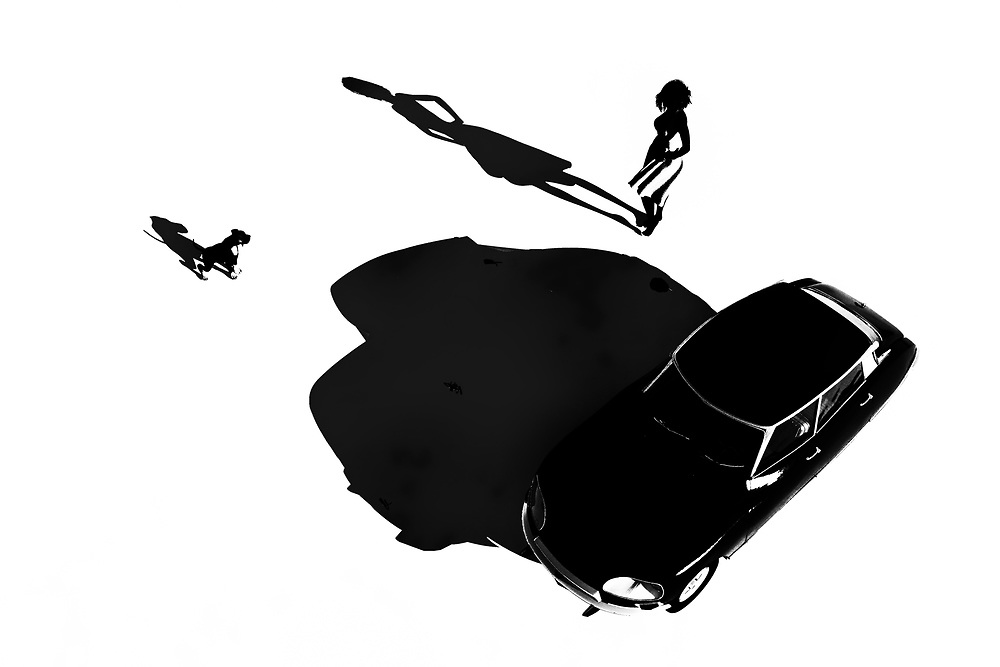 This orthochromatic piece combines a young girl with a fast car. You can also a dog nearby. There are dozens and dozens of unique details to be absorbed here. It is easy to look at this woman and this car and imagine the next few moments. We can see her getting in the car. We can see the dog jumping into the backseat. The car starts. It roars out of the scene. At this point, we can no longer follow. All we can do is wonder if we will ever have the opportunity to see this young French girl again. .<br />