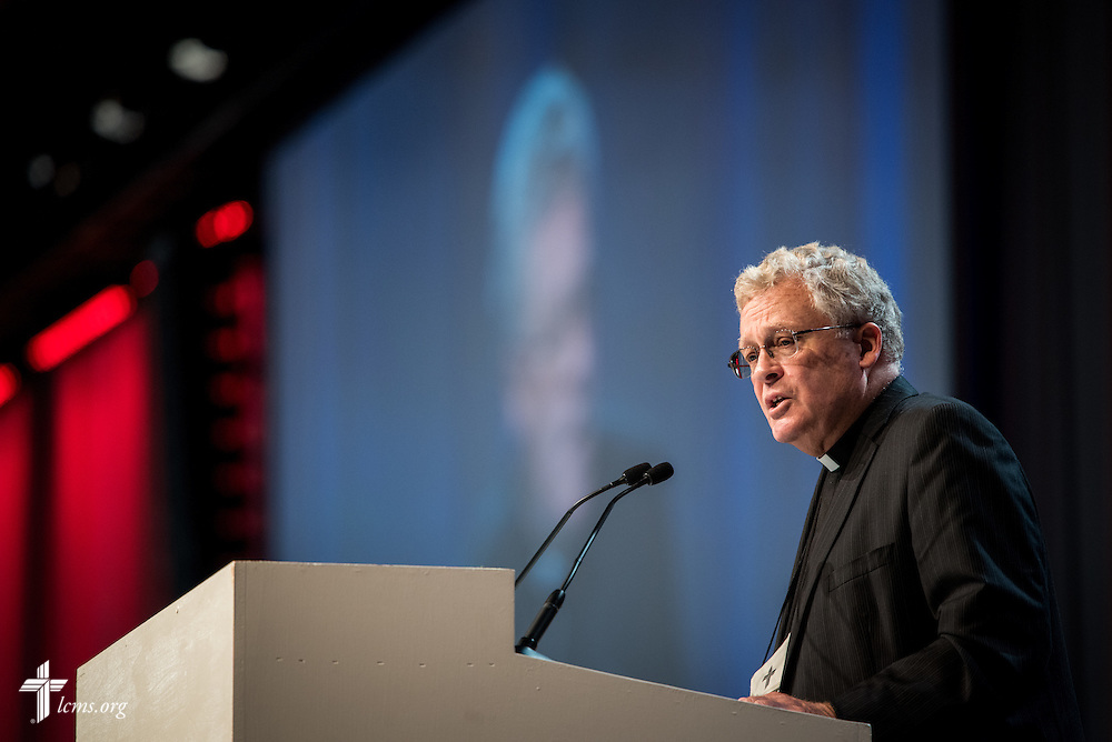 The Rev. Dr. Daniel Preus, LCMS third vice president, speaks during his essay on Tuesday, July 12, 2016, at the 66th Regular Convention of The Lutheran Church–Missouri Synod, in Milwaukee. LCMS/Frank Kohn