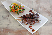 Beef Teriyaki skewers (Guyniku) with vegetables