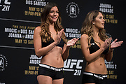 DALLAS, TX - MAY 12:  Octagon Girls stand on stage during the UFC 211 weigh-in at the American Airlines Center on May 12, 2017 in Dallas, Texas. (Photo by Cooper Neill/Zuffa LLC/Zuffa LLC via Getty Images)
