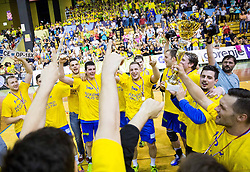 Players of Celje Pivovarna Lasko celebrate after winning during handball match between RK Gorenje Velenje and RK Celje Pivovarna Lasko in Final match of 1st NLB League - Slovenian Championship 2013/14 on May 23, 2014 in Rdeca dvorana, Velenje, Slovenia. RK Celje Pivovarna Lasko became 18-times Slovenian National Champion. Photo by Vid Ponikvar / Sportida