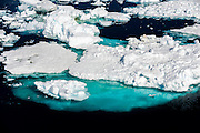 Melting icebergs showing submerged ice, Antarctic Sound, Antarctica