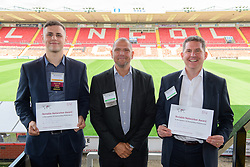 Simon Meadows (Sterling Business Coaching), centre, the chapter president of BNI Apollo (Lincoln) presents the latest notable networker certificates to Jake Matthews (Just Vehicle Solutions), left, and Richard Wilson (DB Wood Ltd).  The certificates were presented for bringing the most visitors and most external referrals respectively.  The BNI Apollo group meet in the VIP Suite at Lincoln City Football Club on Thursday mornings 9.15 - 11am.<br /> <br /> Picture: Chris Vaughan Photography<br /> Date: August 8, 2017