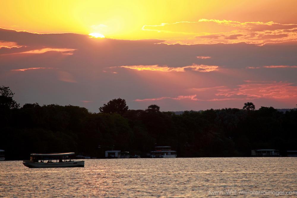 Africa, Zimbabwe, Victoria Falls. Sunset Cruise on the Zambezi River.