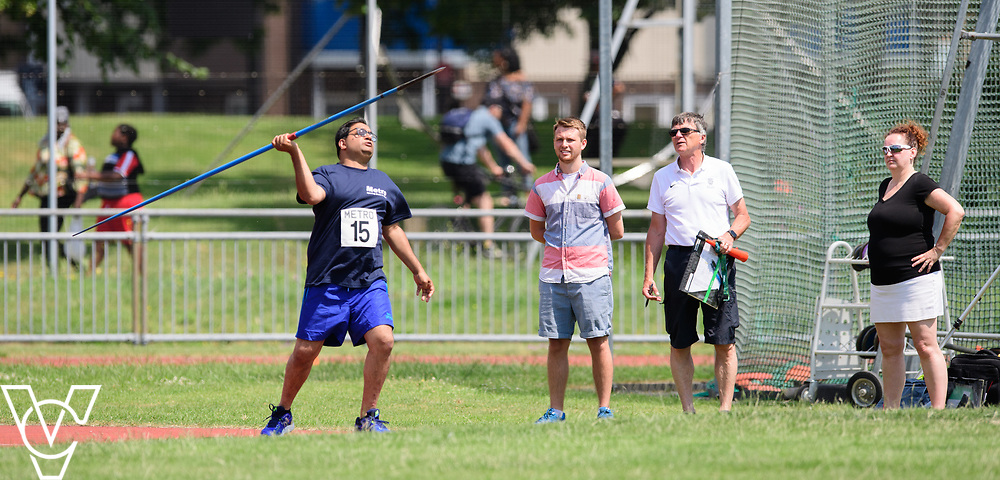 Metro Blind Sport's 2017 Athletics Open held at Mile End Stadium.  Javelin.  Atif Umer<br /> <br /> Picture: Chris Vaughan Photography for Metro Blind Sport<br /> Date: June 17, 2017