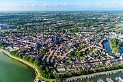 Nederland, Noord-Holland, Hoorn, 13-06-2017; overzicht binnenstad met Grote Kerk (voormalige kerk) en het plein De Roode Steen. Binnenhaven, Oosterkerk.<br /> Overview inner city Hoorn.<br /> luchtfoto (toeslag op standard tarieven);<br /> aerial photo (additional fee required);<br /> copyright foto/photo Siebe Swart