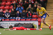 York City midfielder, on loan from Tottenham Hotspur, Kenny McEvoy fouled  during the Sky Bet League 2 match between York City and Accrington Stanley at Bootham Crescent, York, England on 28 November 2015. Photo by Simon Davies.