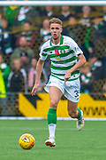 Kristoffer Ajer (#35) of Celtic FC runs forward during the Ladbrokes Scottish Premiership match between Livingston FC and Celtic FC at The Tony Macaroni Arena, Livingston, Scotland on 6 October 2019.