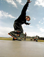 Skaters enjoy the use of a new skate ramp in the village of Weldon, northamptonshire