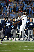 Jacksonville Jaguars wide receiver Rashad Greene Sr. (13) jumps in the air while trying to catch an incomplete fourth quarter pass while Tennessee Titans cornerback Adoree' Jackson (25) closes in for the hit during the week 14 regular season NFL football game against the Tennessee Titans on Thursday, Dec. 6, 2018 in Nashville, Tenn. The Titans won the game 30-9. (©Paul Anthony Spinelli)