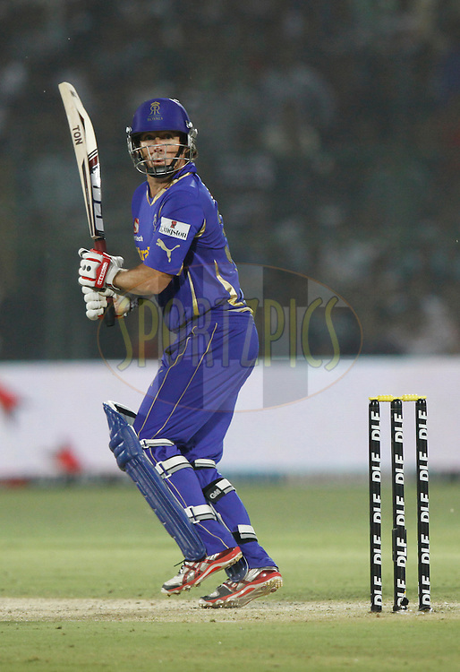 Rajasthan Royals player Brad Hogg play a shot during match 30 of the the Indian Premier League ( IPL) 2012  between The Rajasthan Royals and the Royal Challengers Bangalore held at the Sawai Mansingh Stadium in Jaipur on the 23rd April 2012..Photo by Pankaj Nangia/IPL/SPORTZPICS