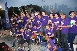 Captain Zoran Pavlovic and other players of Maribor celebrate at cup ceremony after last football match of PrvaLiga Telekom Slovenije between NK Maribor and NK Interblock, when Maribor became a Slovenian National Champion, on May 23, 2009, in Ljudski vrt, Maribor. (Photo by Marjan Kelner/Sportida)