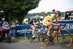 Rozanne Slik (NED) of Liv-Plantur Cycling Team reaches the top of the last climb of the fourth lap the 121.5 km road race of the UCI Women's World Tour's 2016 Grand Prix Plouay women's road cycling race on August 27, 2016 in Plouay, France. (Photo by Balint Hamvas/Velofocus)