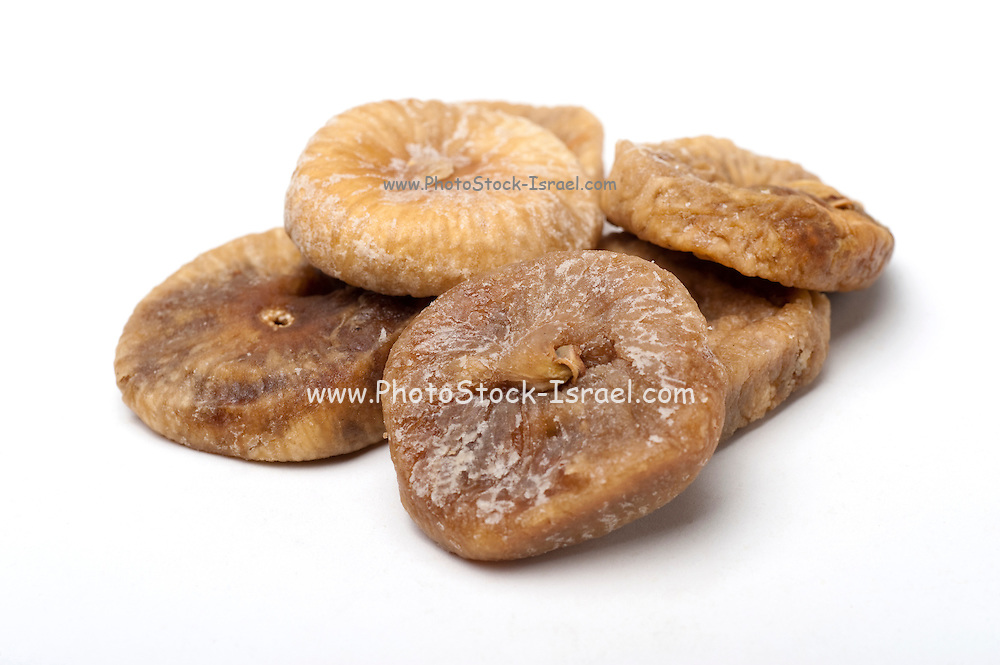 Cut out of dried figs On white Background
