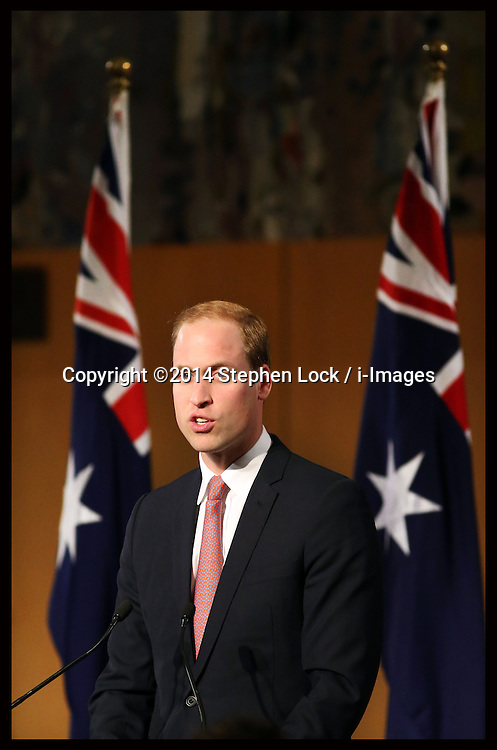 The Duke of Cambridge gives a speech at The Prime Minister's Reception in the Great Hall of Parliament House, Canberra, Australia, Wednesday, 23rd April 2014. Picture by Stephen Lock / i-Images