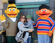 From left, Bert, Stacey Hampton and Donny Hampton 4 of Southampton, Pa. and Ernie pose for a photo during a Variety Club event Sunday April 24, 2016 in Langhorne, Pennsylvania. Sesame Place opens for the season April 30, 2016. (Photo by William Thomas Cain)
