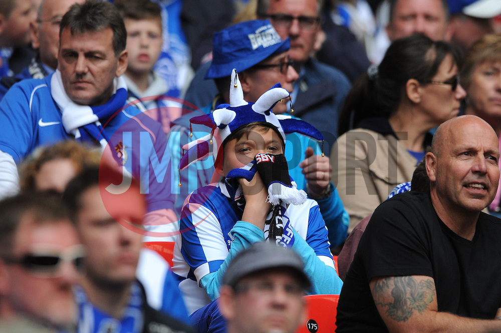 A young Bristol Rovers fan looks nervous as the game goes into extra time - Photo mandatory by-line: Dougie Allward/JMP - Mobile: 07966 386802 - 17/05/2015 - SPORT - football - London - Wembley Stadium - Bristol Rovers v Grimsby Town - Vanarama Conference Football