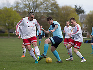 - FC Polonia (white) v Dundee Social (ligtht blue) during the Association Cup semi final  at Fairmuir, Dundee, Photo: David Young<br /> <br />  - &copy; David Young - www.davidyoungphoto.co.uk - email: davidyoungphoto@gmail.com