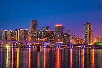 Miami Skyline on Biscayne Bay (Blue Hour)