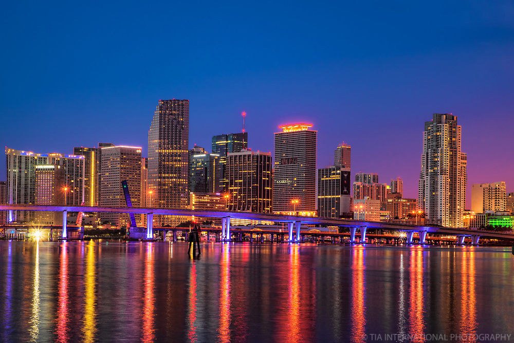 Miami Skyline on Biscayne Bay (Blue Hour)