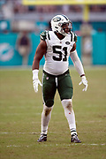 New York Jets outside linebacker Brandon Copeland (51) gets set during the NFL week 9 regular season football game against the Miami Dolphins on Sunday, Nov. 4, 2018 in Miami Gardens, Fla. The Dolphins won the game 13-6. (©Paul Anthony Spinelli)
