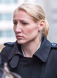 © Licensed to London News Pictures. 08/10/2018. Bristol, UK. Teacher ELLIE WILSON (blonde hair) arrives at Bristol Crown Court for the second week of her trial, accused of having sexual activity with a school pupil. The 29 year old from Dursley in Gloucestershire denies four counts of abuse of position and sexual activity with a child. She was a physics teacher at a Bristol secondary school (which cannot be named for legal reasons) when the alleged offences took place in August 2015. It is alleged that Wilson had sex with the male pupil in the toilet of an aircraft on the return flight from a school trip to southern Africa. When interviewed Wilson said there was a friendship with the boy and admitted she shouldnít have gone as far as she did but there was nothing sexual. Photo credit: Simon Chapman/LNP