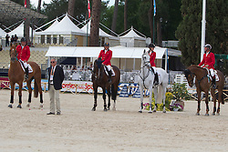 Team of Belgium second of the FEI Nations Cup Rome 201Philippe Lejeune, Chef d'equipe Philippe Guerdat, Dirk Demeersman, Judy Ann Melchior, Jos Lansink<br /> © Dirk Caremans