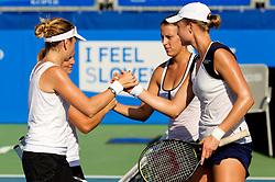 Ipek Senoglu (TUR) and Anastasija Jakimova (BLR) vs Andreja Klepac of Slovenia and Elena Bovina of Russia at 2nd Round of Doubles at Banka Koper Slovenia Open WTA Tour tennis tournament, on July 21, 2010 in Portoroz / Portorose, Slovenia. (Photo by Vid Ponikvar / Sportida)