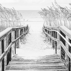 Beach boardwalk Pensacola Beach Florida black and white panorama photo. Pensacola Beach is on Santa Rosa Island in the Emerald Coast region of the Southeastern United States. Panoramic photo ratio is 1:3. Copyright ⓒ 2018 Paul Velgos with All Rights Reserved.