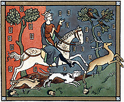 John (1167-1216) Plantagenet king of England from 1199, out hunting. Chromolithograph after a medieval manuscript.