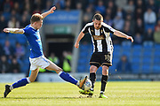 Chesterfield defender Andy Kellett (24) battles with Notts County midfielder Liam Noble (18) during the EFL Sky Bet League 2 match between Chesterfield and Notts County at the b2net stadium, Chesterfield, England on 25 March 2018. Picture by Jon Hobley.
