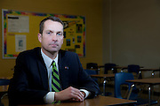 Ted Neitzke, superintendent of the West Bend School District, stands in the hallway at Badger Middle School on Thursday, December 19, 2013. Nathan Weber for the New York Times