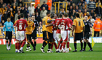 Photo: Steve Bond/Sportsbeat Images.<br /> Wolverhampton Wanderers v Bristol City. Coca Cola Championship. 03/11/2007. Tempers flare and Darren Byfield is booked