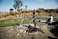 Zimbabwe, Kvinde henter grønsager fra indhegnet bed, hvor de også har en næsten tør brønd hvor hun kan hente vand til planterne.