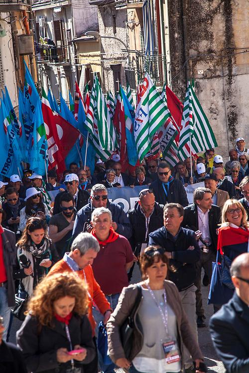Manifestazione nazionale dei sindacati confederali a Portella della Ginestra nel 70° anniversario dalla strage. Presenti i segretari nazionali Camusso, Furlan e Barbagallo.