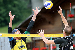 12.07.2014, Beach Village, Gstaad, SUI, FIVB Beach Volleyball Grand Slam Gstaad, im Bild Kay Matysik (GER) gegen Alison Cerutti (BRA) // during the FIVB Beach Volleyball Grand Slam Gstaad at the Beach Village in Gstaad, Switzerland on 2014/07/12. EXPA Pictures © 2014, PhotoCredit: EXPA/ Freshfocus/ Claude Diderich<br /> <br /> *****ATTENTION - for AUT, SLO, CRO, SRB, BIH, MAZ only*****