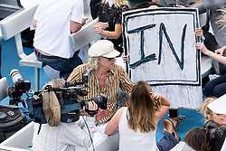 © Licensed to London News Pictures. 15/06/2016. London, UK. Bob Geldof on a counter-protest 'Vote In' boat as the pro-Brexit campaign 'Fishermen for Leave', sail a flotilla of over 30 vessels up the Thames. The flotilla, including UKIP leader Nigel Farage, caused traffic issues in central London, as vessels travelled up the Thames for high tide and to coincide with the last Prime Minister's Questions before the EU referendum takes place on 23 June. Photo credit : Tom Nicholson/LNP
